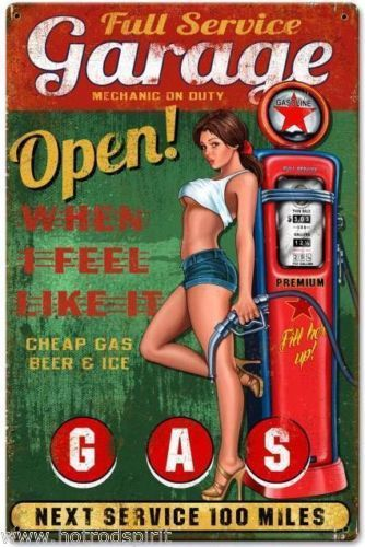 plaque-publicitaire-pin-up-sexy-et-pompe-a-essence-garage-open-tole-metal-sm312