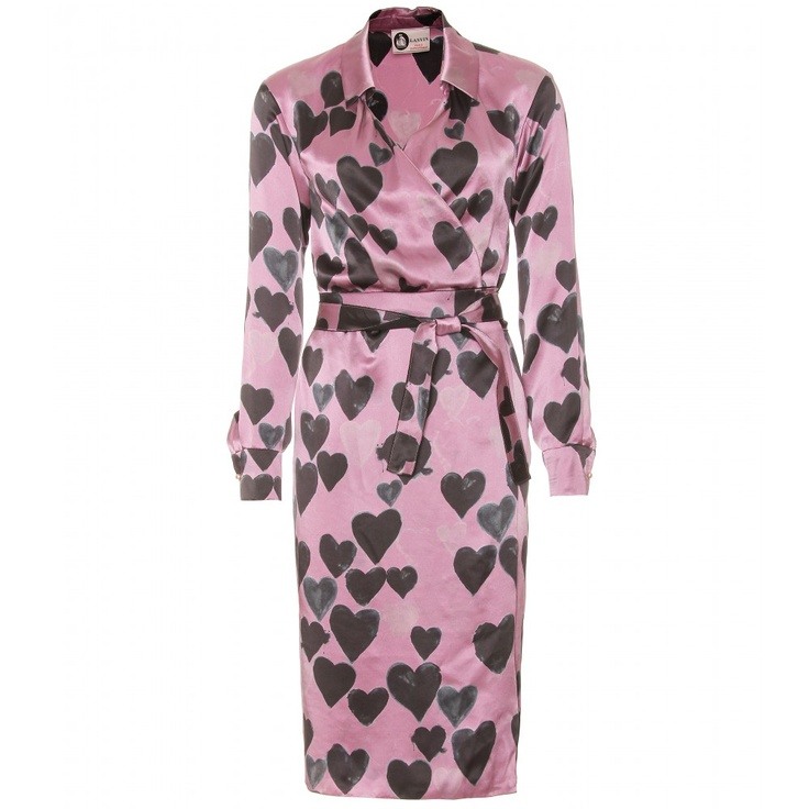 Lanvin Silk Wrap Dress With Hearts