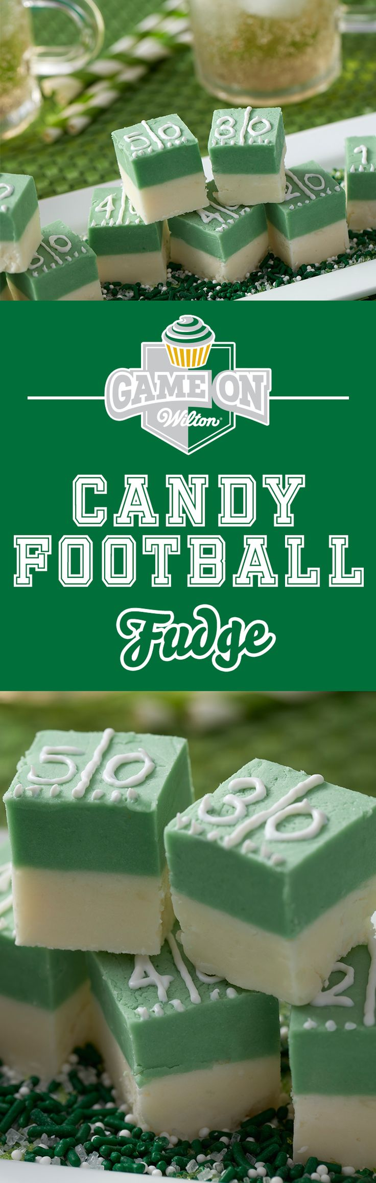 Learn to make this delicious Candy Melts football field fudge! This easy-to-make sweet treat is sure to be a hit at any football tailgate or party. It's just the right bite for any football fan.