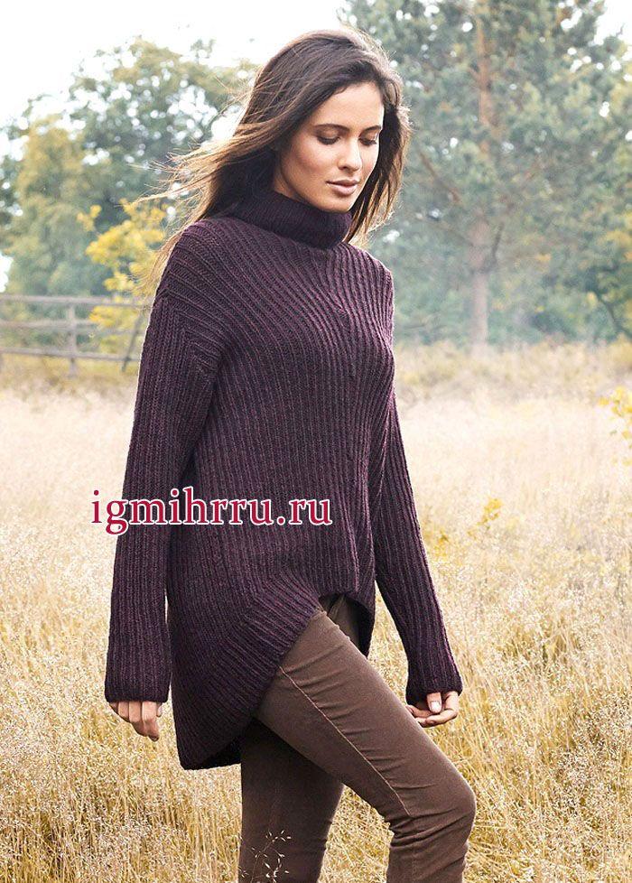 Стильный теплый пуловер свободного покроя, с фигурным низом. Вязание спицами