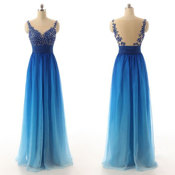 Ombre Blue Prom Dresses,Evening Gowns,Sexy Formal Dresses,Beaded Prom Dresses,Ombre Evening Gown,Evening Dress,Chiffon Prom Dresses
