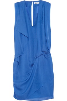 love this dress! cobalt blue draped dress