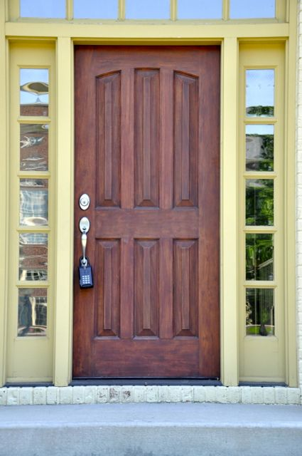 Yellow trim makes this entry door pop! Front doors & 128 best Elegant Entryways images on Pinterest | Front doors ... pezcame.com