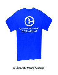 Shop Seewinter.com Clearwater Marine Aquarium Men's Royal Blue Logo Tee Shirt Back View