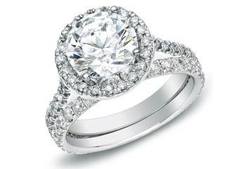 1 Carat Certified Diamond 14K White Gold Bridal Ring Set