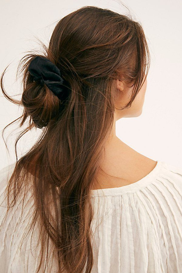 Solid Shimmer Scrunchie by Free People, Black, One Size