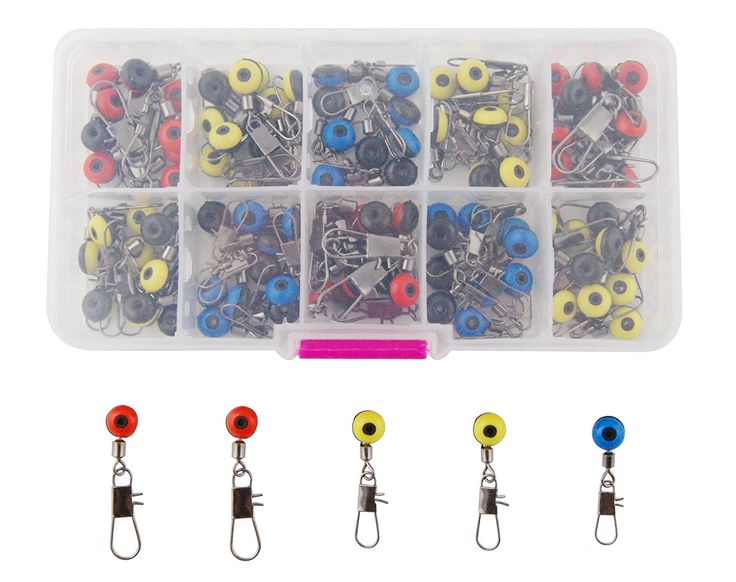 JSHANMEI ® 100pcs/box Fishing Line Sinker Slides Hook Shank Clip Connector Swivels Size Large/medium/small Color Red/blue/yellow Fishing Tackle Swivel Snap >>> Learn more by visiting the image link.
