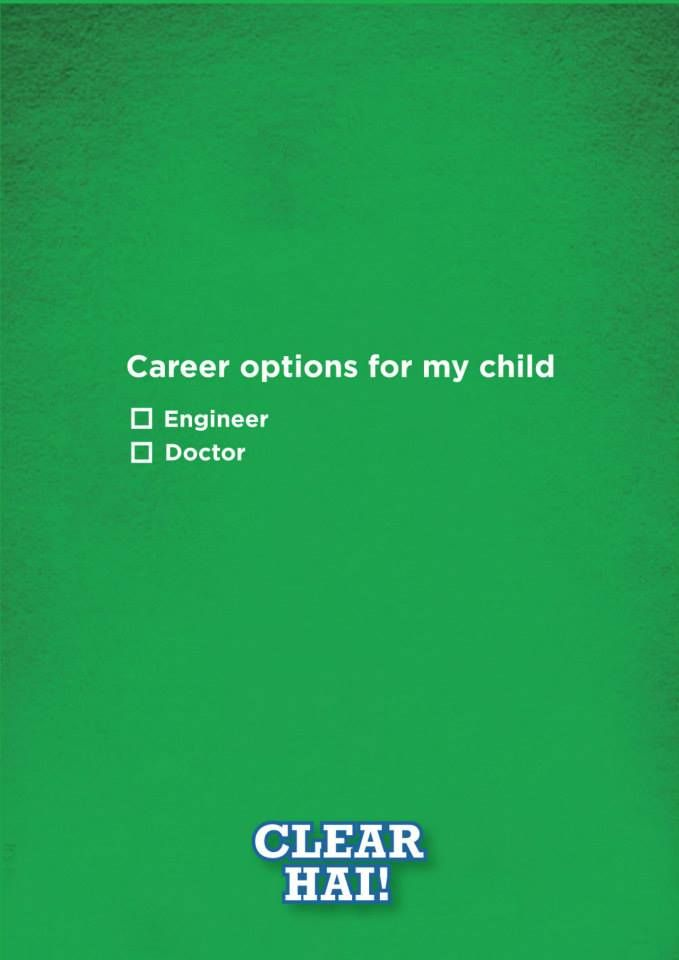 #Sprite's Tagline Clear hai explicitly points out the rigidness faced by children for not opting or changing the careers from a Doctor or Engineer....#change #sochozarahatke