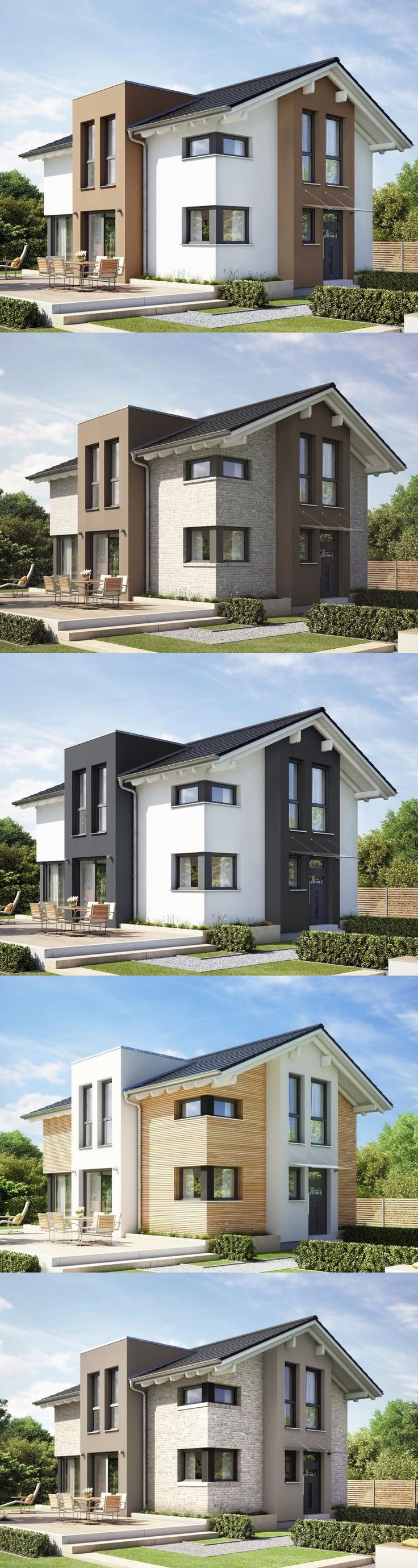 Haus Evolution 122 V11 Fassaden Varianten Holz Klinker Putz Farbakzente