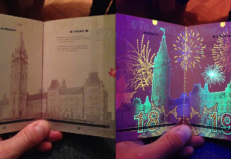 If You Didn't Know, The Canadian Passport Under Black Light -> gotta try this when I get my new passport!! :)