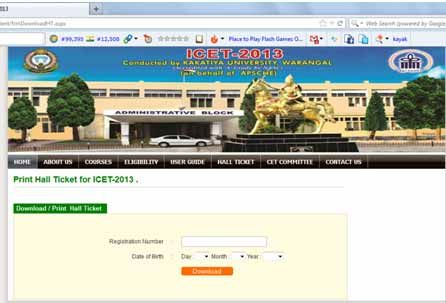ICET 2013 Admit Card Download