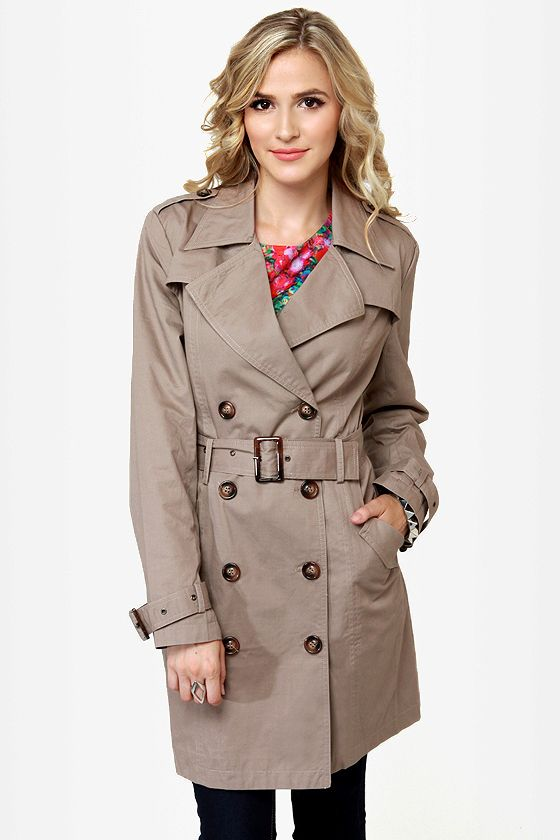 My Dear Watson Taupe Trench Coat