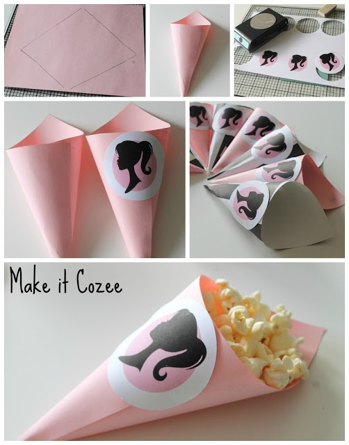 Make your own Barbie Party [or any party] pop corn cones