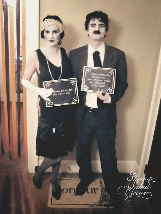 Wear black and white clothes and makeup, and make your own text cards. Great Halloween costumes!!