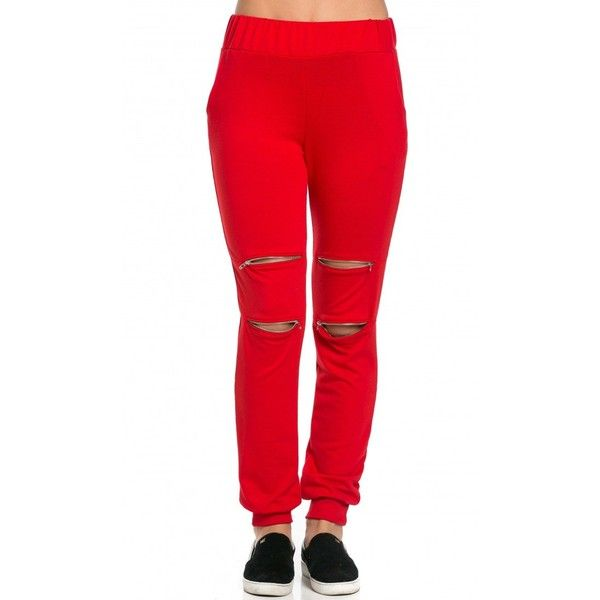 Double Zipper Knee Slit Jogger Pants in Red ($25) ❤ liked on Polyvore featuring zipper jogger pants, elastic waistband pants, jogging trousers, red jogger pants and stretch waist pants