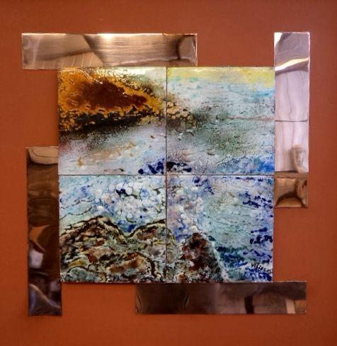"""Obra: """"Frente al océano"""". Técnica Mixta esmalte al fuego."""