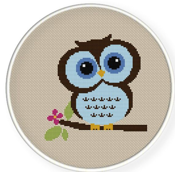 Instant Download,Free shipping,Counted Cross stitch pattern,Cross-Stitch PDF,cute blue owl , zxxc0188