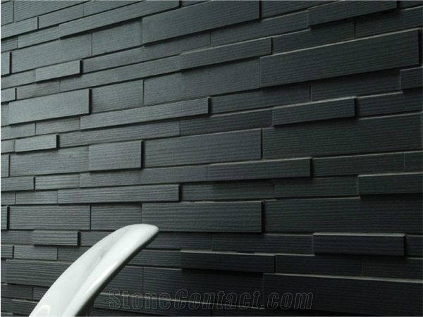 Black Wall Paneling : Ledge stone wall panel kadappa black limestone