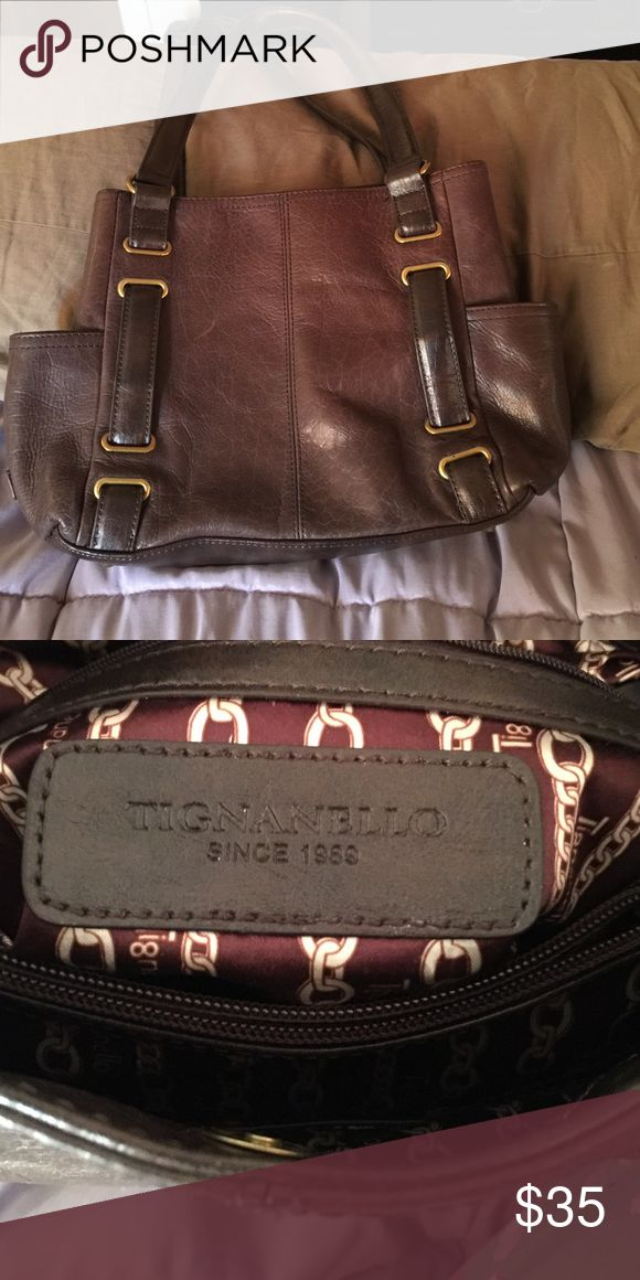 Tignanello Brown Bag This medium sized bag is in great condition! It has many compartments to keep you organized and it carries very well!! Tignanello Bags Shoulder Bags