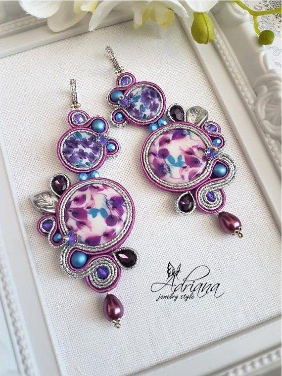Flower soutache earrings by AdrianaJewelryStyle