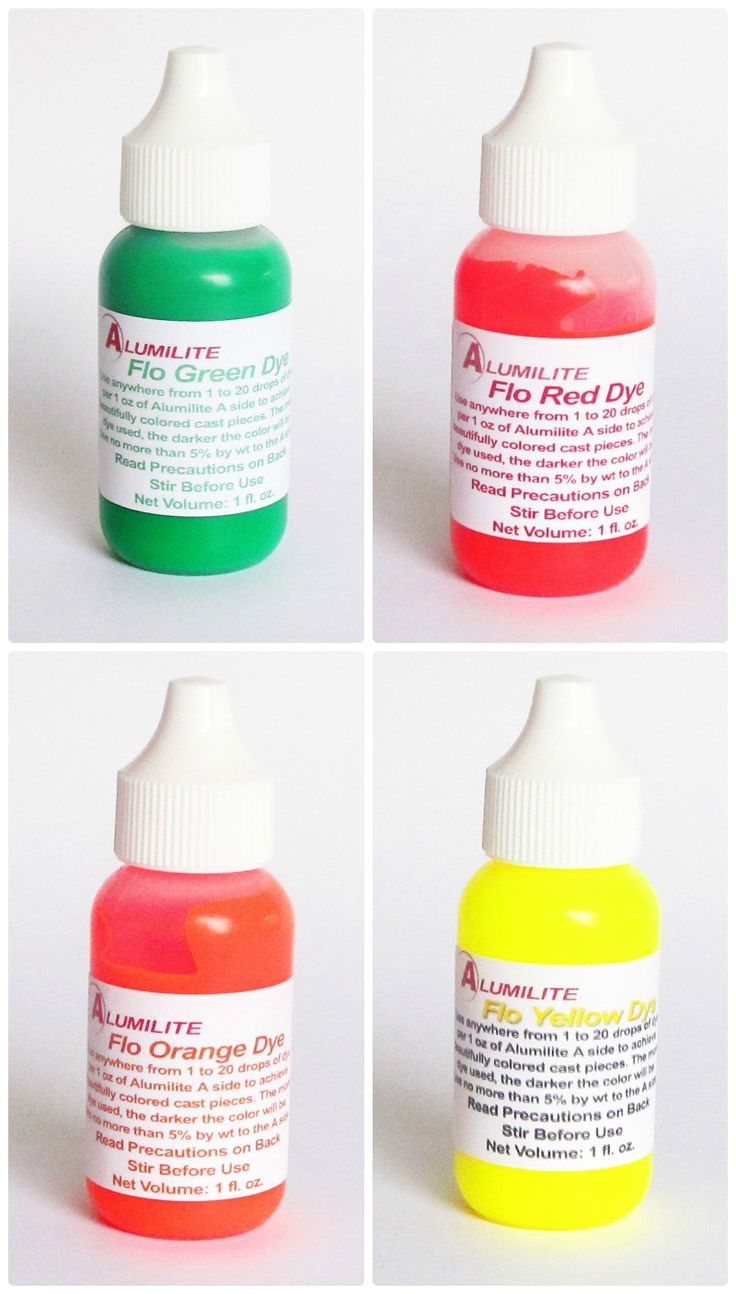 Alumilite fluorescent liquid pigment dye - single 1 ounce colors