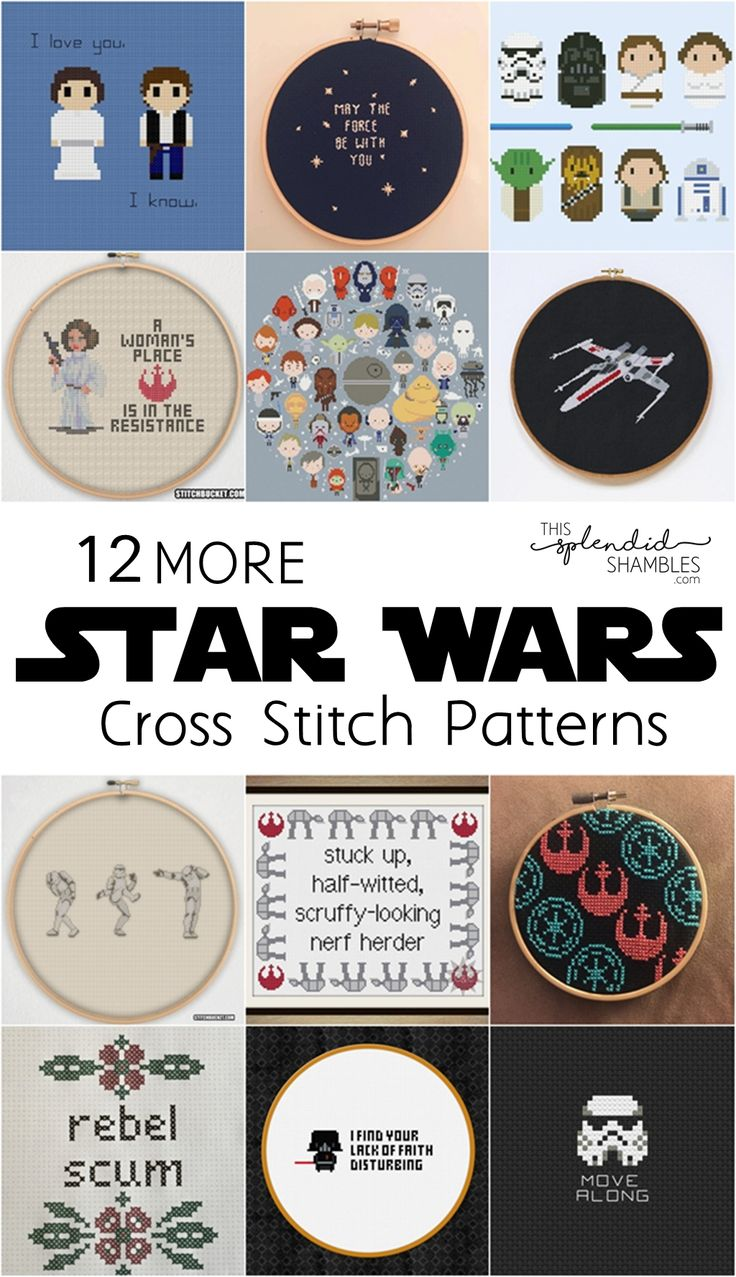 12 MORE Star Wars Cross Stitch Patterns. May the 4th Be With You! Happy Star Wars Day everyone! http://www.thissplendidshambles.com/2017/05/star-wars-cross-stitch-patterns-may-the-4th/