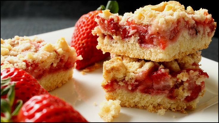 Learn how to make these delicious strawberry crumb bars!! With strawberries just now starting to come into season, this is the perfect way to whip up a quick and easy dessert. You can also use blueberries, raspberries, blackberries, rhubarb, peaches, etc for these. See how to make them here: http://youtu.be/k9CvNFHGYNc