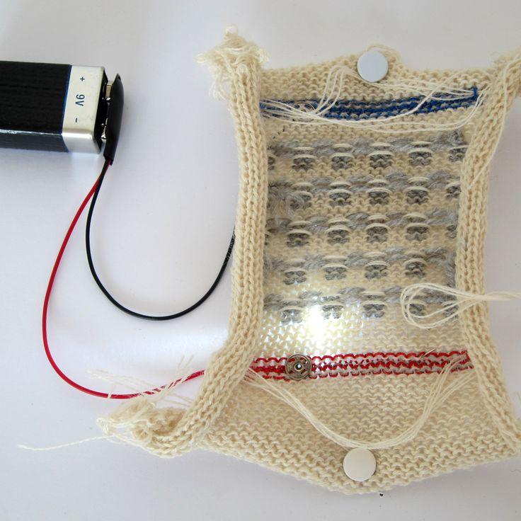 Knitted Breadboard and Punchcard from Irene Posch & Ebru Kurbak:  eTextile summer camp 2012.  (december 2014)