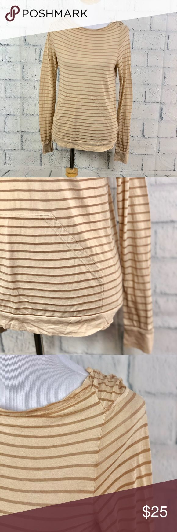 """3 Dots Womens Striped Knit Long Sleeve Hoodie 3 Dots Womens Striped Knit Hooded Long Sleeve Shirt Beige and Tan Stripes  Drawstring Hood  Kangaroo pocket on the front  Size XS 78% Supima Cotton 22% Tencel Trim  Pit to Pit: 18"""" Length: 25"""" In Excellent Condition  (B1) 3 Dots Tops Tees - Long Sleeve"""