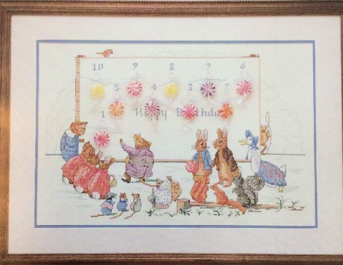 Beatrix Potter Birthday Countdown Candy Calendar  595 Cross Stitch Pattern  OOP #GreenApple #Frame