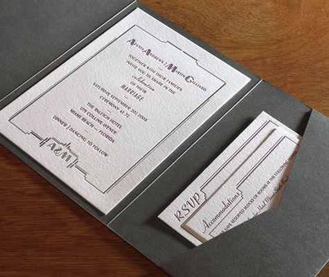 South Beach letterpress wedding invitation design in pocket folder