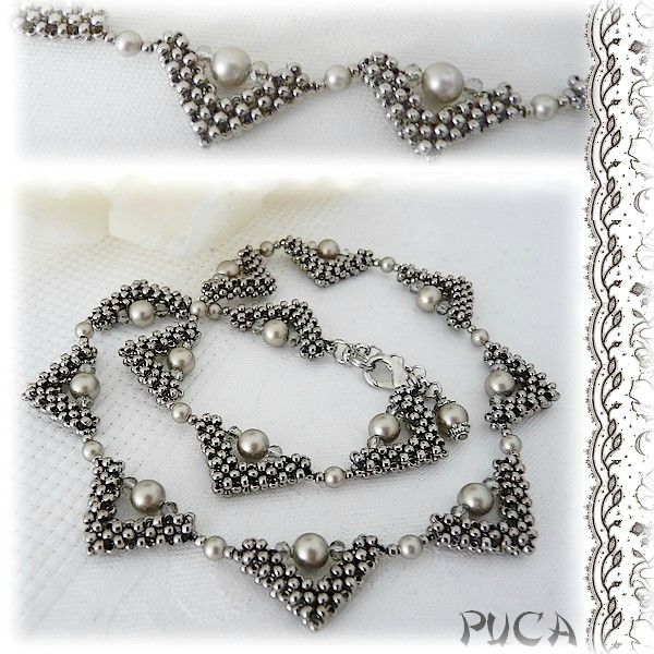 Delicate right angle weave necklace by Puca. Seed beads, glass pearls, crystals.