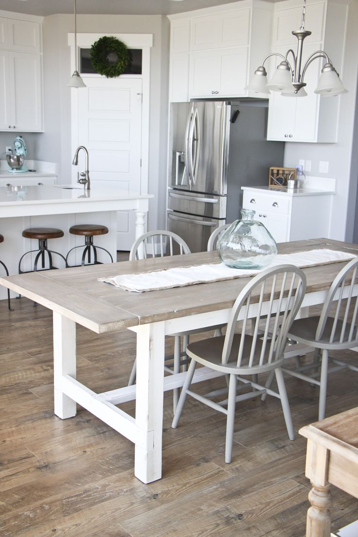 Best 25 white wood table ideas on pinterest distressed Farm dining table