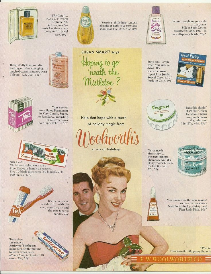1953 WOOLWORTH'S UK Christmas ad for cosmetics