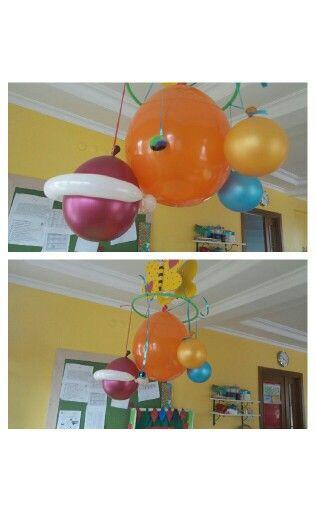 Okul öncesi uzay konu sınıf süslemesi. Balon gezegen ve güneş sistemi. Anaokulu faaliyet.