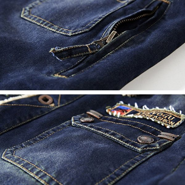 Mens Fleece Turn-down Denim Winter Jacket Multi Pocket Solid Color Casual Coat at Banggood