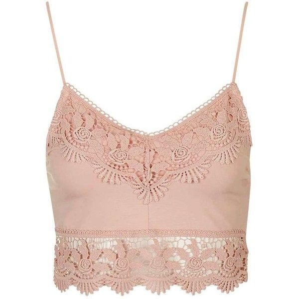 TopShop Crochet Trim Bralet ($29) ❤ liked on Polyvore featuring tops, crochet trim top, pink top, spaghetti-strap top, strappy bralet top and topshop