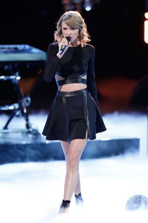 I am dying over this all black, leather embellished, cut-out focused outfit T. Swift wore on the Voice.