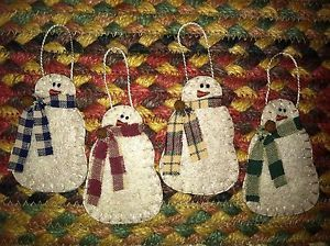Primitive Christmas Ornaments | Set of 4 Primitive Christmas Ornaments Snowmen with Scarves SM | eBay