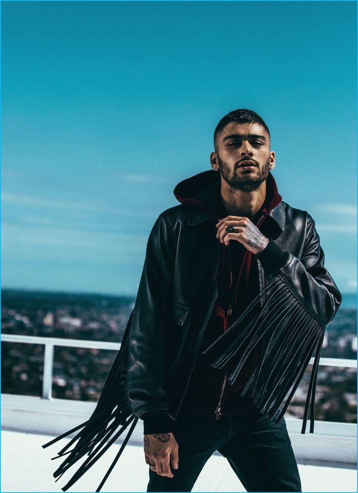 Zayn Malik rocks a fringe leather jacket for his Elle UK photo shoot.