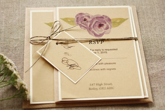 Rustic and watercolor flower wedding invitation - twine tag - purple flower