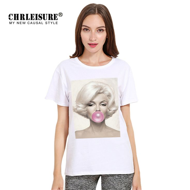 >> Click to Buy << Chrleisure Character T-shirt Marilyn Monroe Eat Bubble Gum 3D Print Tops Women Tee Shirt Summer Casual T-shirt Female #Affiliate