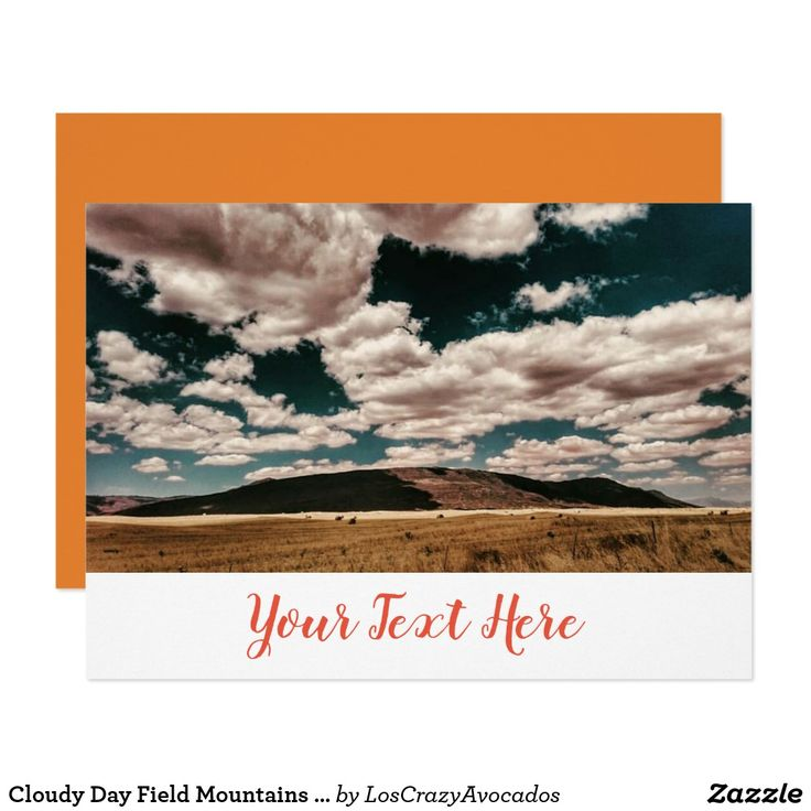 Cloudy Day Field Mountains Invitation Card
