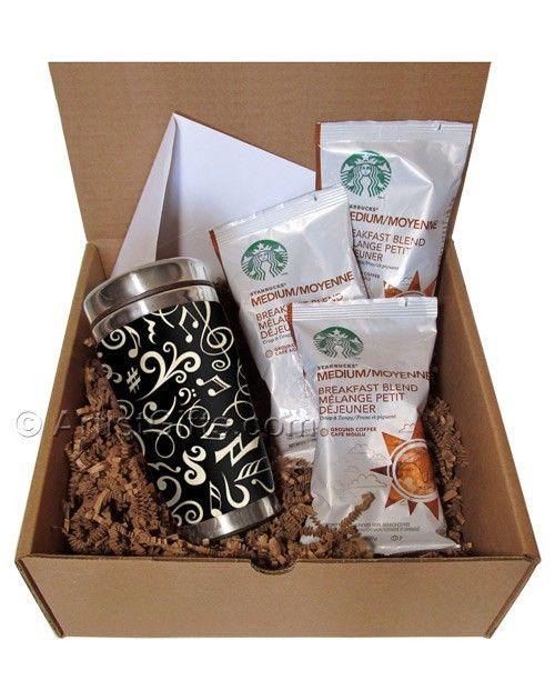 Coffee Gift Set with Music Theme Insulated Mug