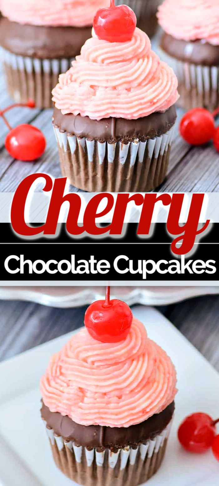Jun 17, 2020 – CHERRY CHOCOLATE CUPCAKES have a classic Valentine's Day look, yet are perfect for parties or any occasio…