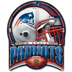 This New England Patriots football high-definition wall clock keeps accurate time while nicely decorating the home, office, or game room of any fan of NFL team New England Patriots.