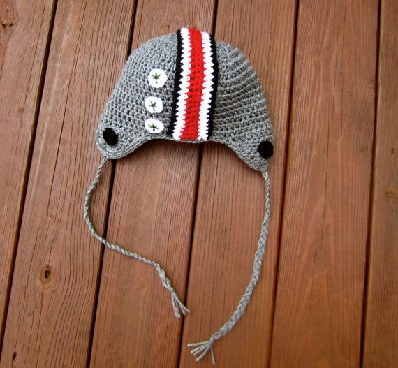 Ohio State Hat- OSU Buckeyes adult or child beanie- Buckeyes football beanie- OSU helmet hat with buckeye decal- OSU winter hat- Gameday hat