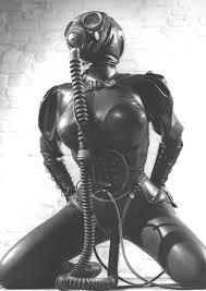 black latex gas mask