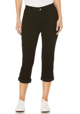 Rafaella Women's Cuffed Denim Capri - Black - 10