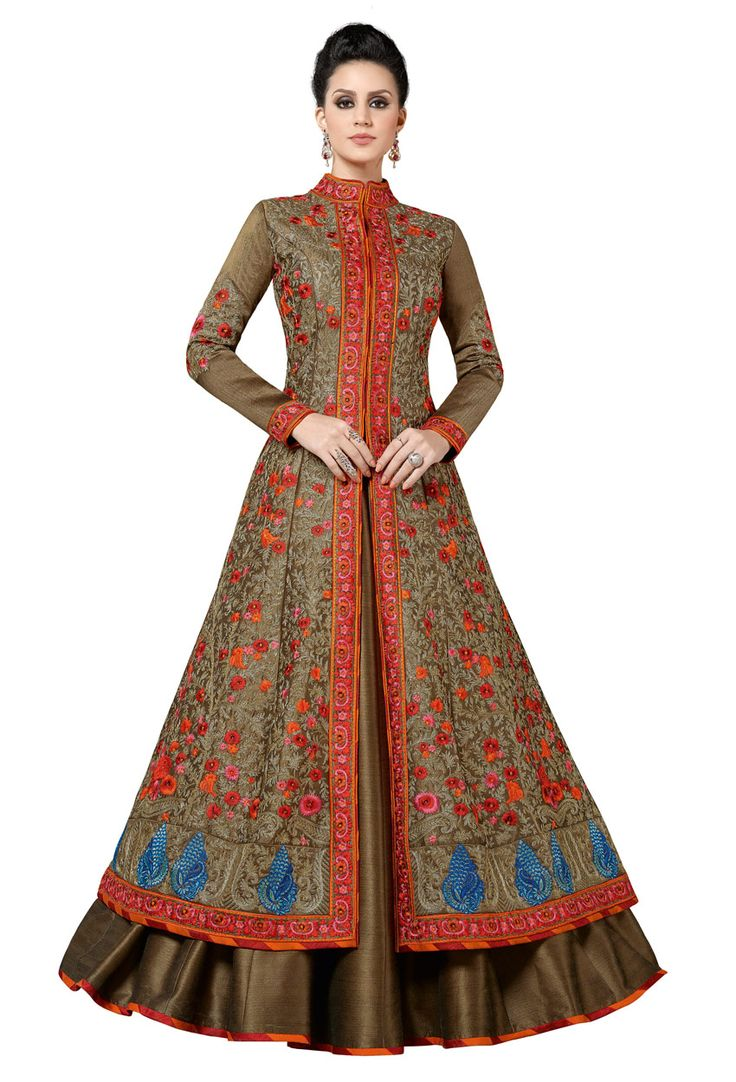 Brown Silk Achkan Style Partywear Salwar Suit #stylish #stylishsuit #stylishindiansuit #stylishsalwarkameez #salwarsuitonline #onlinesalwarkameez #dress #onlineindiandress #sale#nikvik #freeshipping #usa #australia #canada #newzeland #Uk #UAE
